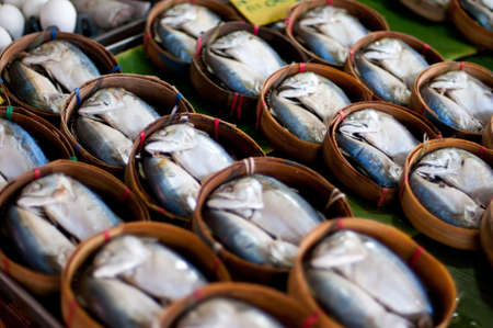 Mackerel Fish in Bamboo Basket photo
