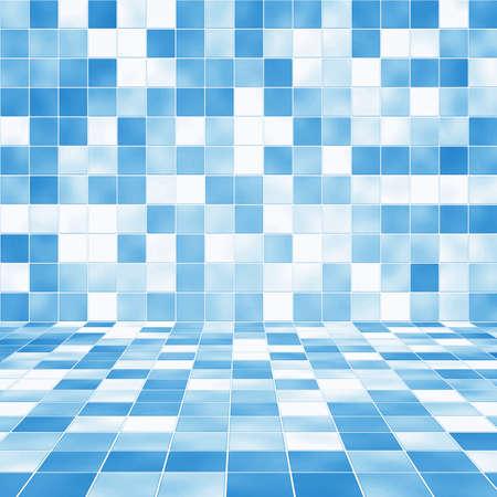 Interior de la habitaci�n con el fondo azul del mosaico baldosa de pared