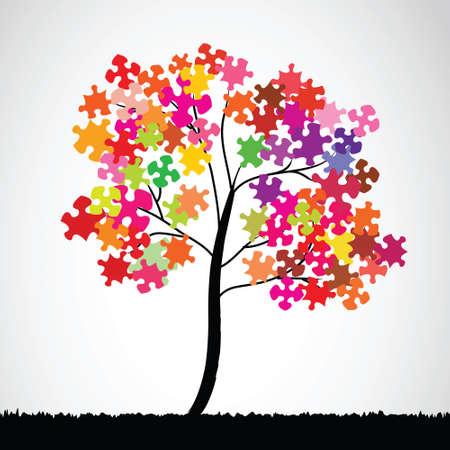 jigsaws: Estratto di puzzle colorato sfondo dell'albero