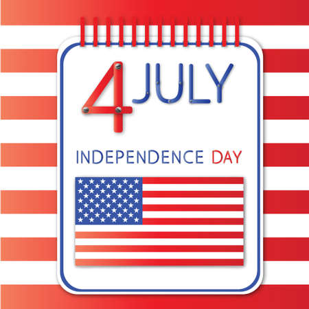 4th of July independence day on notebook Vector