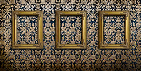 Gold picture frames on Thai traditional pattern wall photo