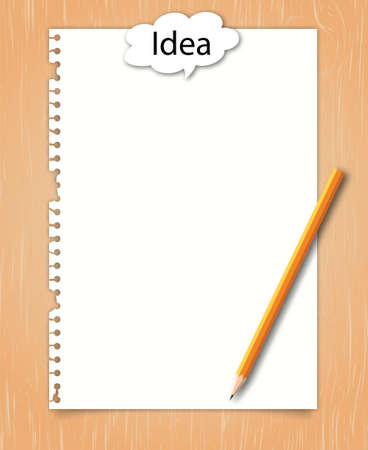 Note paper with conceptual idea on wood background