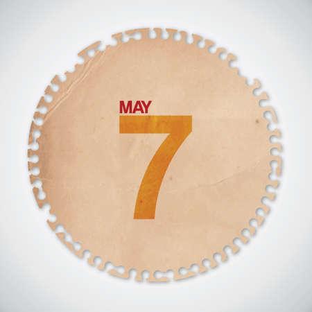 nota de papel: 7 de mayo en el Círculo Viejo Vector Torn Paper Vectores