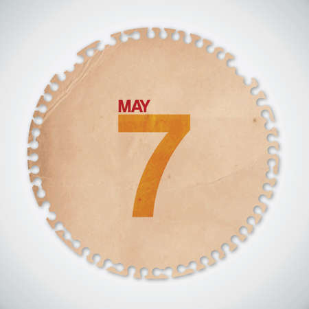 7 th May on Circle Old Torn Paper Vector Stock Vector - 13276030
