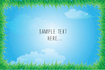 Grass frame on blue sky background vector Vector