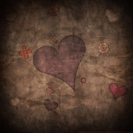romance love: Heart on grunge paper texture background Stock Photo