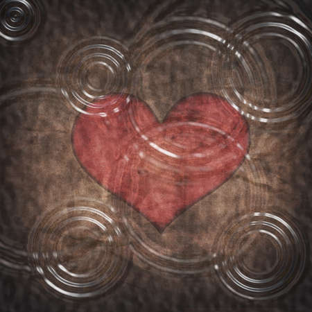 ink drops: Water ripple on red heart with grunge paper texture background Stock Photo