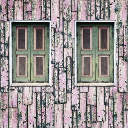 Window on grunge wooden wall Stock Photo - 13788240