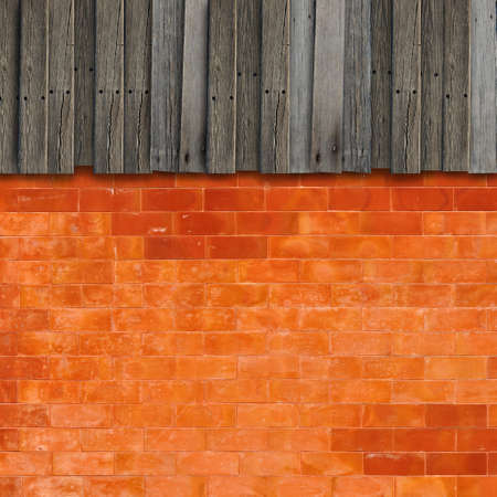 Colorful orange brick and wood texture photo