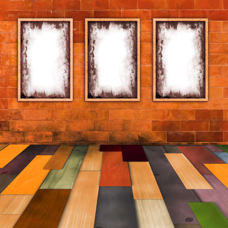 Empty grunge frames on orange brick wall with wooden color floor in a room photo