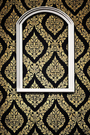 golden border: White frame on Thai pattern Stock Photo