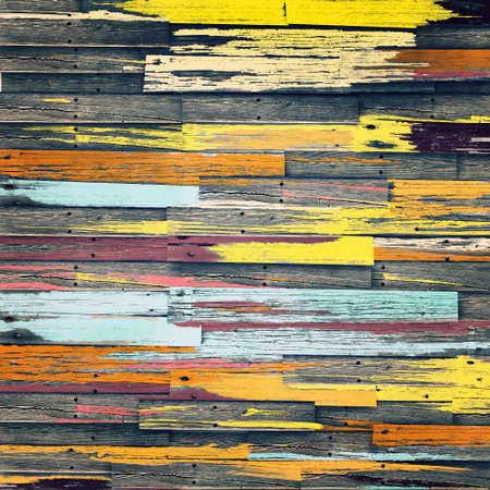 Vintage colorful wooden wall background Stock Photo