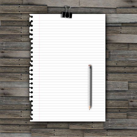 White paper with clip and pencil on wood background Stock Photo - 13644787