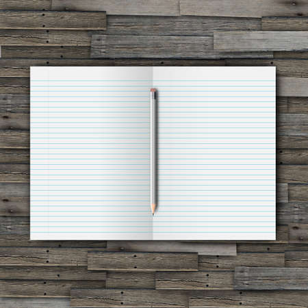 White open notebook and pencil on wood background Stock Photo - 13644786