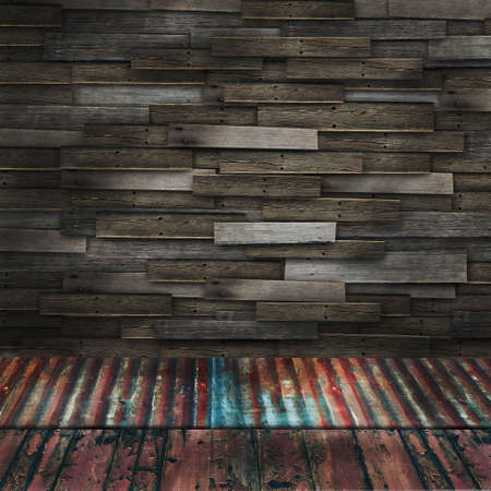 Vintage wooden room with rusty old corrugated iron and grunge wood floor Stock Photo - 13644659