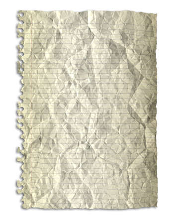 Yellow crumpled paper texture on white background photo