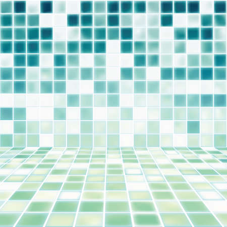 Interior Room with Mosaic Tiled Wall Vector Illustration