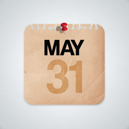31st May on Old Paper Vector Vector