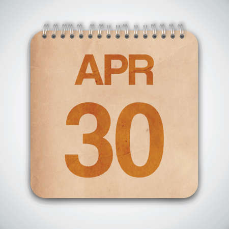 30 th April on Old Paper Vector Illustration