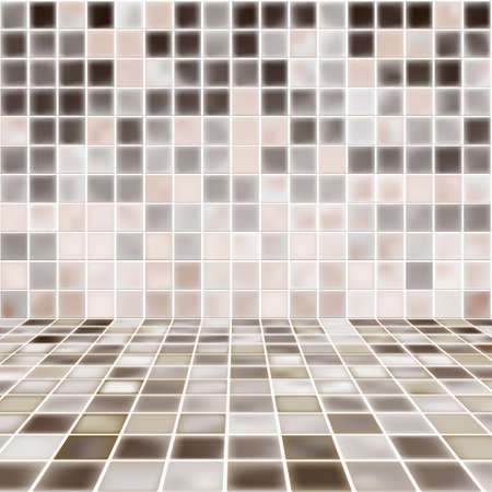 Interior Room with Mosaic Tiled Wall Vector Vector