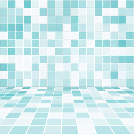floor tiles: Interior Room with Mosaic Tiled Wall Vector Illustration