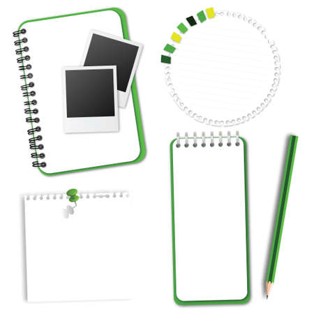 Green Collection Notebook Paper Vector Vector