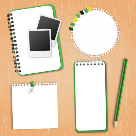 Green Collection Notebook Paper on wood background Vector