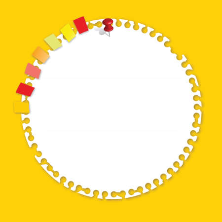 yellow notebook: Circle Paper with Bookmark Vector