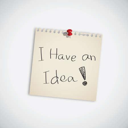 Tengo una idea palabra Nota Vector Libro