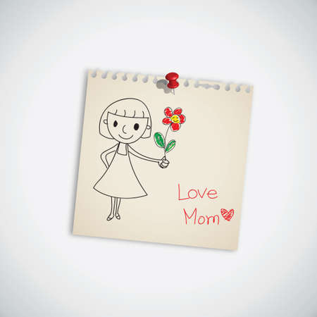 love mom: I love you mom with flower on note paper vector