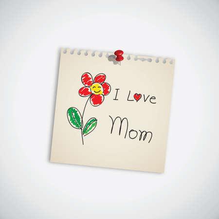 niños dibujando: Dibujado a mano me encanta mamá con el vector de flor de papel