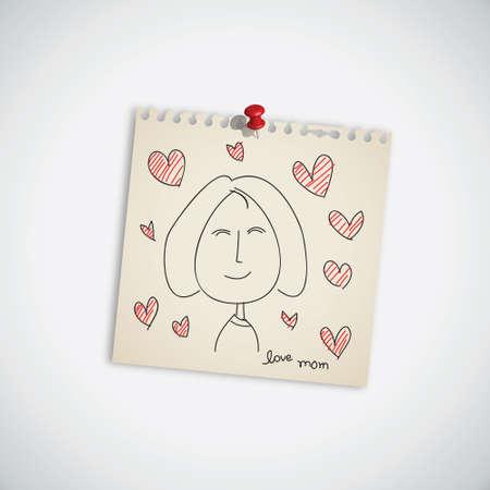 Dibujado a mano la tarjeta para el D�a de la Madre s