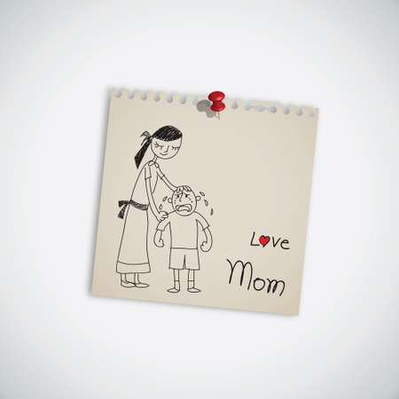 mama: I love you mom note vector
