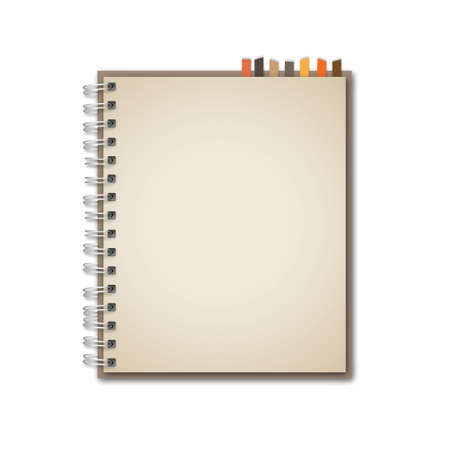 spiral binding: Old Brown Notebook Vector
