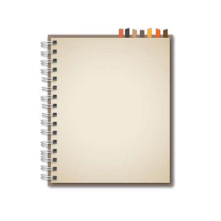 cuaderno espiral: Vector Antiguo Cuaderno Marr�n