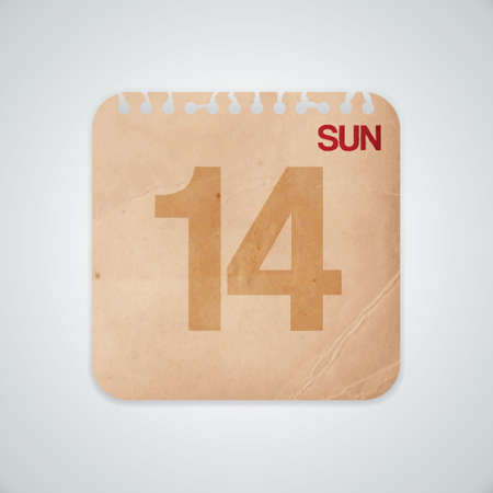 14th: 14th Sunday on Old Paper Vector