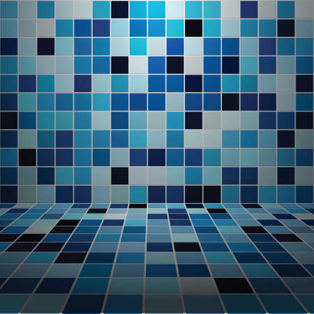 Interior Room with Low Light Mosaic Tiled Wall Illustration
