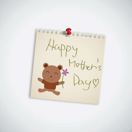 Happy Mother s Day with Bear Vector Illustration