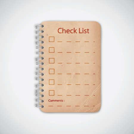 Check list Old Notebook Illustration