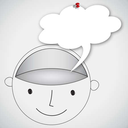 think positive: Head Blank Brain with Balloon Word Concept Idea