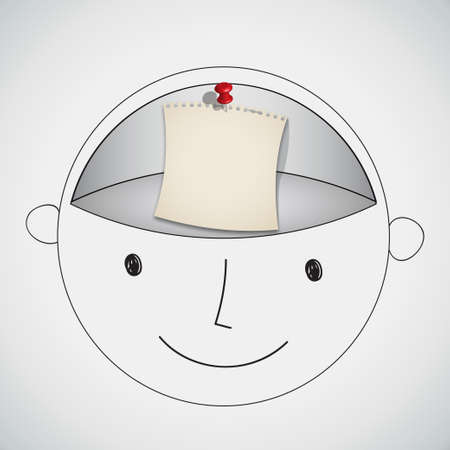 push room: Note Paper in Blank Brain Room Concept Vector