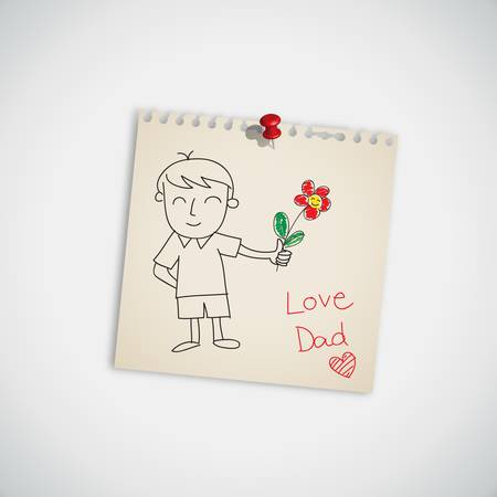 I love you dad with flower on note paper  Illustration