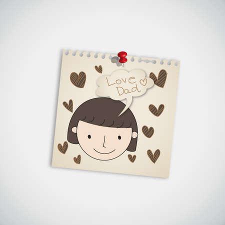 Dibujado a mano la tarjeta para el D�a del Padre s Vectores