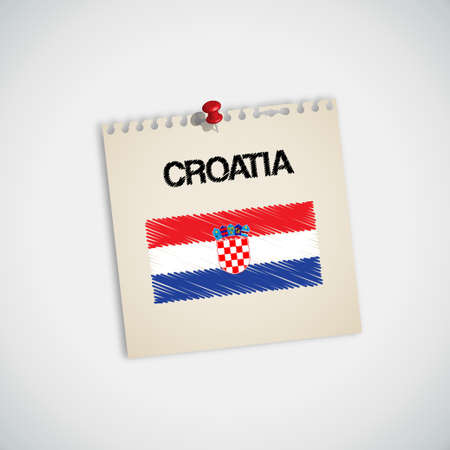 paper pin: Paint Flag of Croatia Note Paper