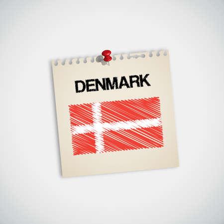 flag pin: Paint Flag of Denmark Note Paper