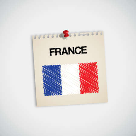 Paint Flag of France Note Paper Vector Vector