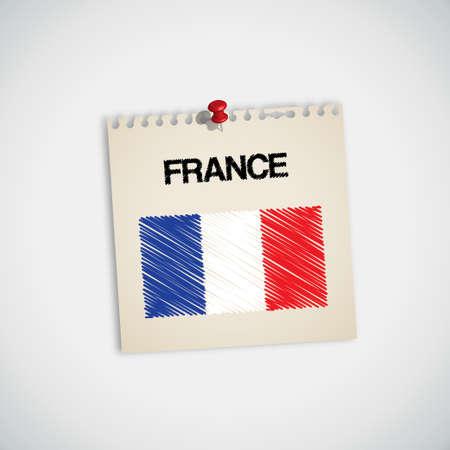 bandera francia: Pintura Bandera de Francia Vector Papel Nota Vectores