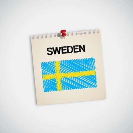 graphing: Pintura de la bandera de papel de nota Suecia