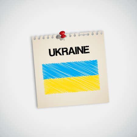 graphing: Bandera de pintura vectorial Ucrania Papel Nota