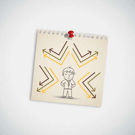 Reflected Arrow Around Man on Note Paper Vector